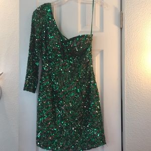 Scala short green sequin pageant or cocktail dress